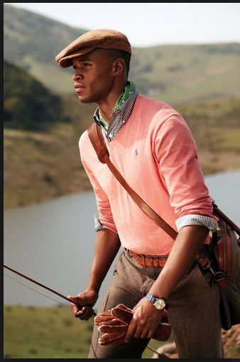 This fashion forward look is perfect for mens hobbies such as gold or fishing. Sporty yet stylish the flat cap is perfect for outdoors. The colour contrast between the pink and brown is timeless, a look that will never go out of date.